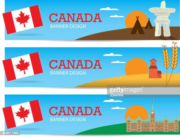 Set of colorful Canada themed banner design templates with text