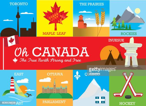set of colorful canada themed labels and designs with text - canada day stock illustrations