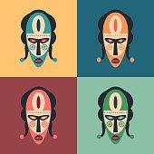 Set of colorful carnival masks.