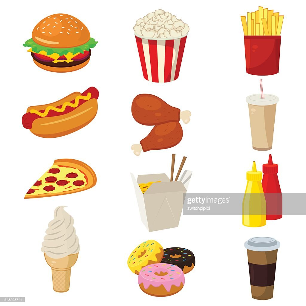 Set of colorful cartoon fast food icons isolated on white.