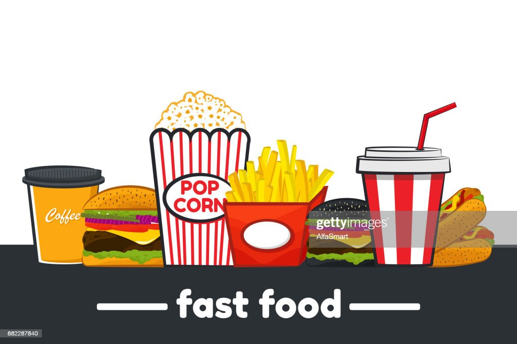 Set Of Colorful Cartoon Fast Food Icons Vector Illustration