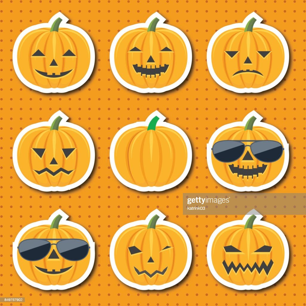Set of colorful cartoon icons of emotional, smiling pumpkins