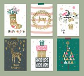 Set of colorful Christmas gift tags or labels