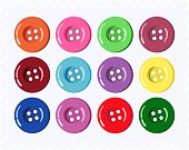 Set of colorful clothes buttons. Vector illustration.