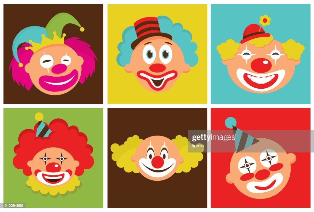 set of colorful clowns