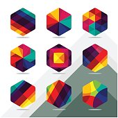 Set of colorful cube