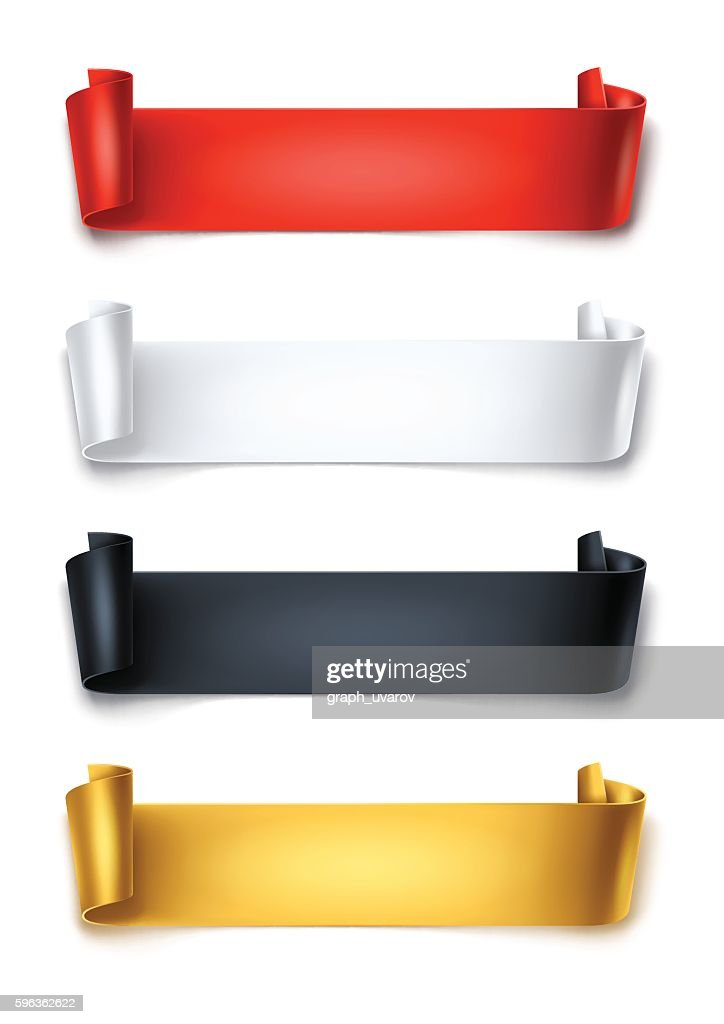 Set of colorful detailed curved ribbons isolated on white background.