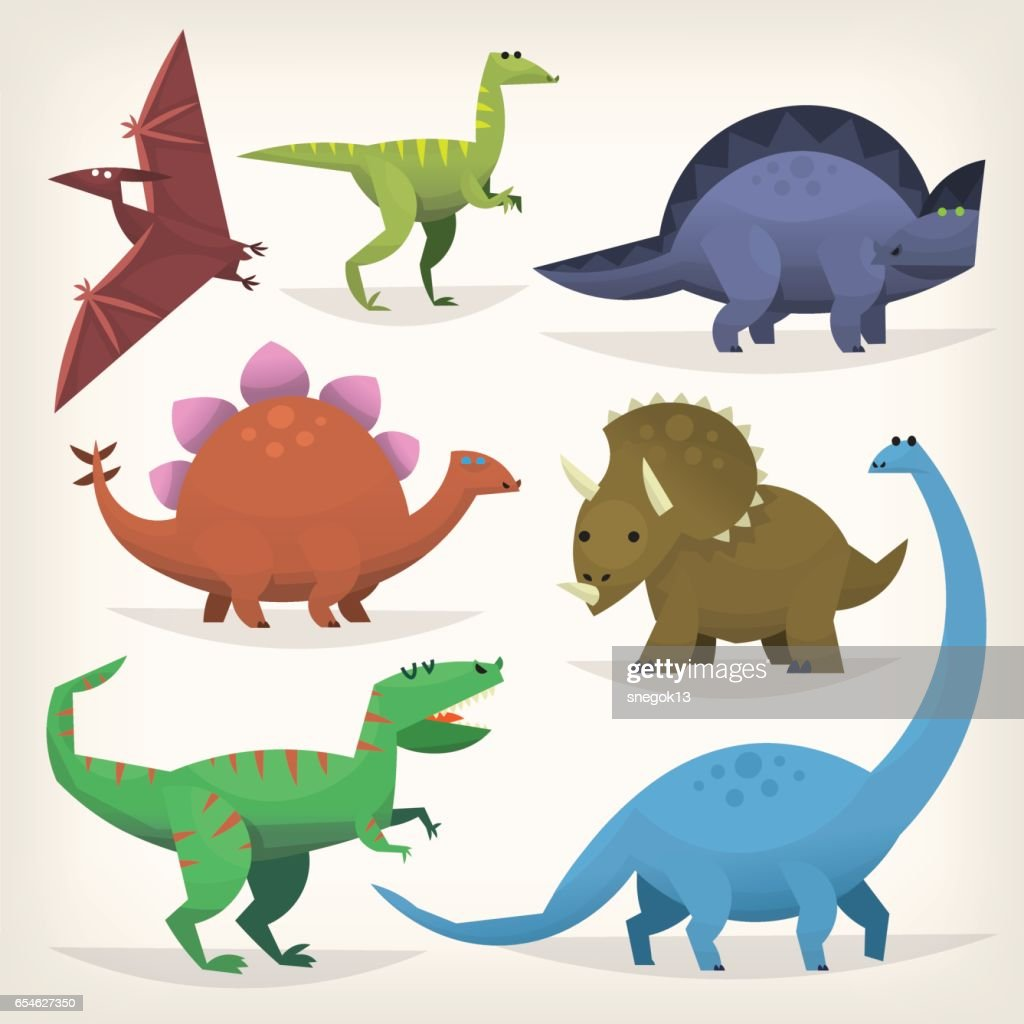 Set of colorful dinosaurus