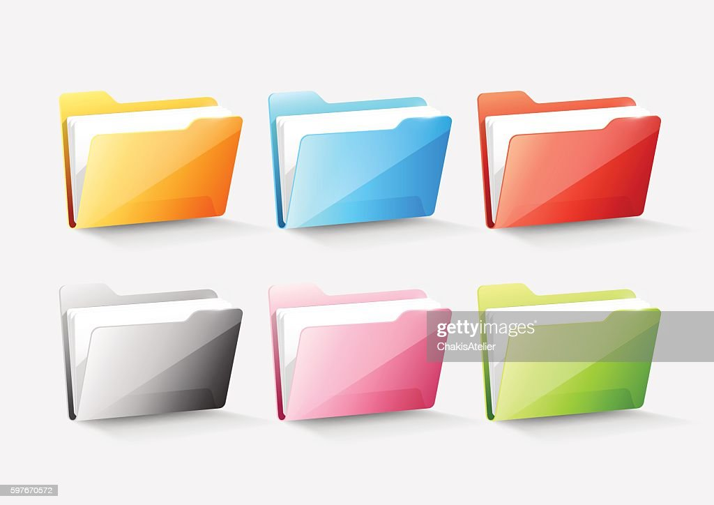 Set Of Colorful Document File Folder Directory Icon Transparent Vector Vector Art