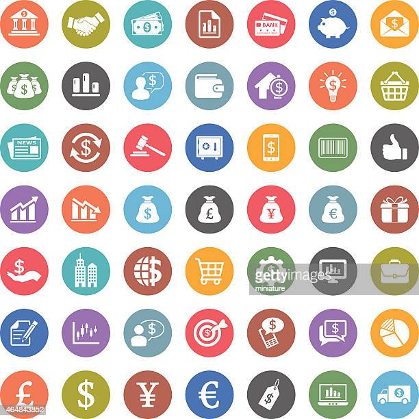 Set of colorful flat icons for finance and economy