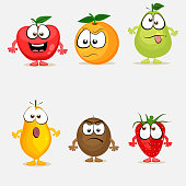Set of colorful fruit characters.