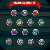 Set of colorful game designing element