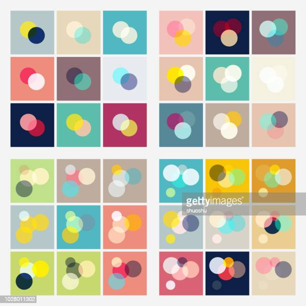 set of colorful geometric round pattern - multi layered effect stock illustrations