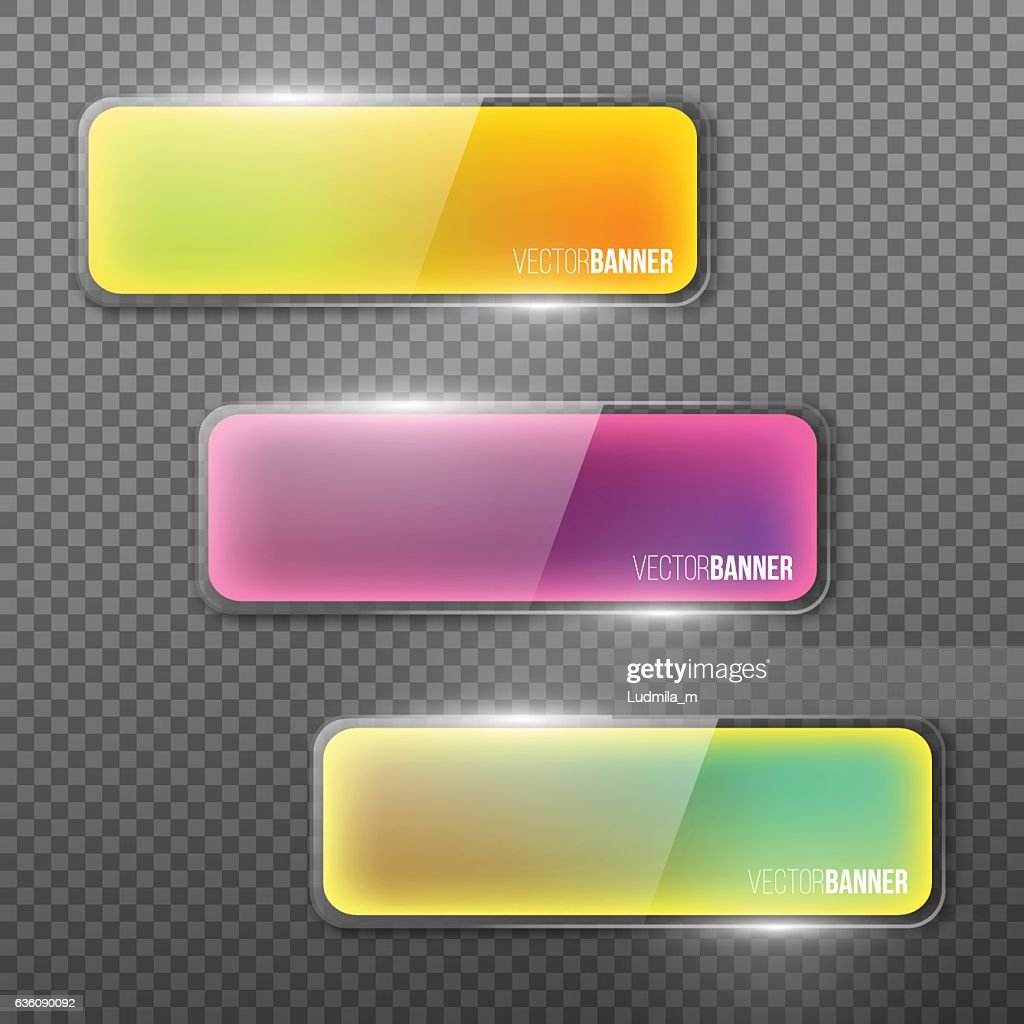 Set of colorful glass banners for design, dark background.