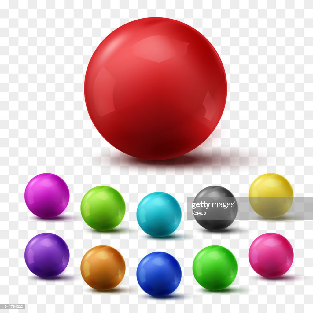 Set of colorful glossy spheres isolated on transparent background. Vector balls