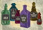 Set of colorful Hallowe'en bottles with labels