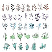 Set of colorful hand drawn leaves