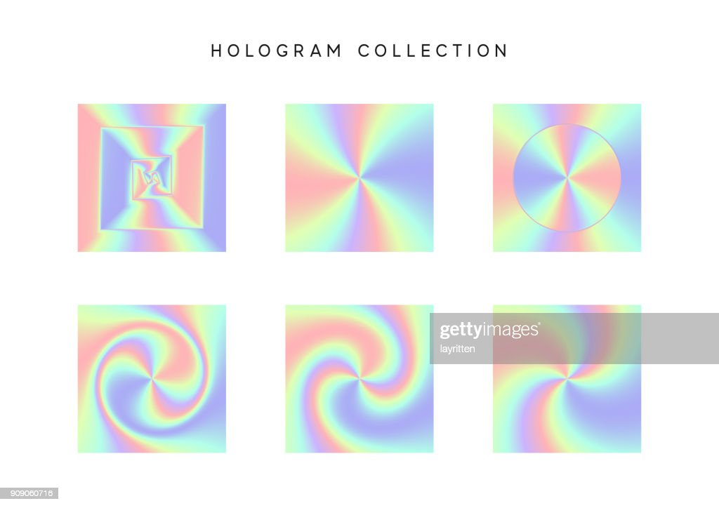 Set of colorful hologram abstract vector. Design texture style hipster. Holographic gradient backgrounds