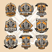 Set of colorful icons, emblems, sword and of the warrior s head, a variety of fonts, isolated vector illustration.