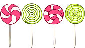 Set of colorful lollipops hand drawn style