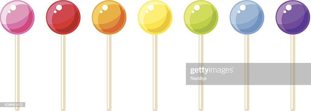 Set of colorful lollipops. Vector illustration.