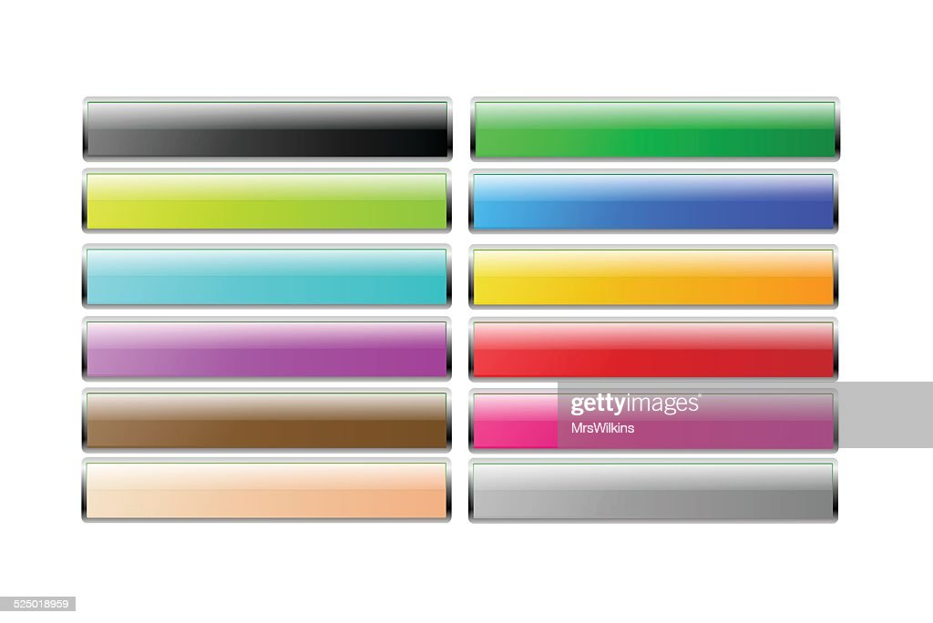 Set of colorful long rectangular buttons with chrome frame vector