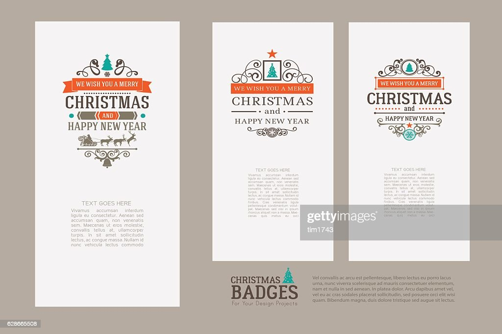 Set of colorful Merry Christmas vector retro vintage badges