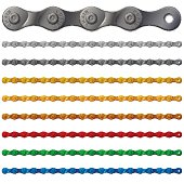 Set of colorful metal bicycle chain, isolated on white