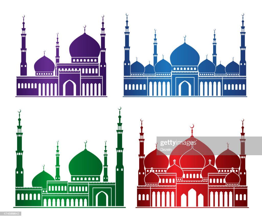 Set of Colorful Mosque or Masjid Elements Isolated