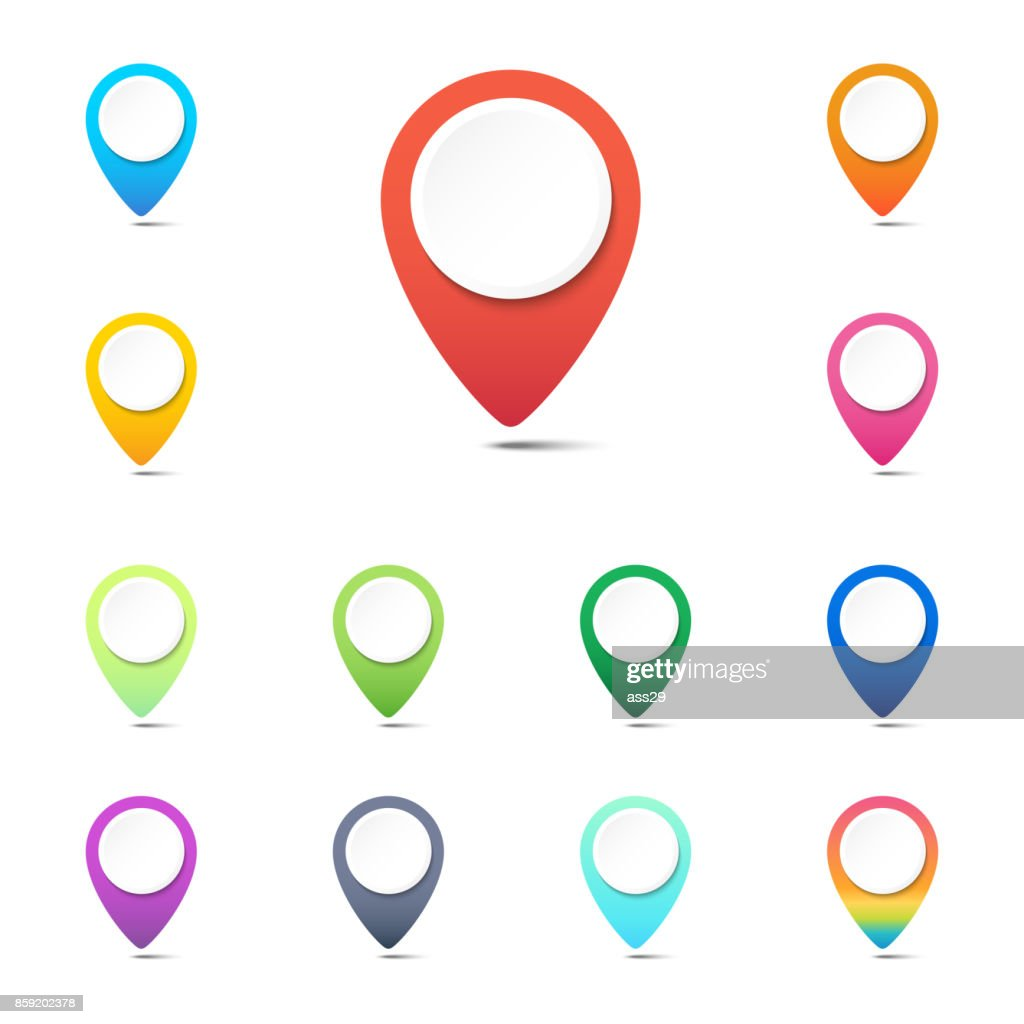 Set of colorful navigation pins, GPS location icons or web button pointers on white background, Vector illustration