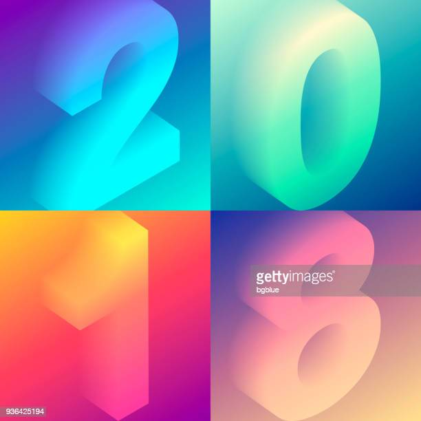 set of colorful numbers - 2018 with trendy gradients - number stock illustrations