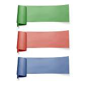 Set of colorful paper banners, vector ribbons with shadow isolated