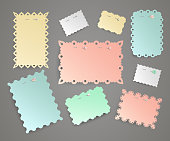 Set of colorful paper stikers pinned pushbutton. Stickers with carved edges