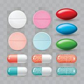 Set of colorful pills. Color group of realistic pharmaceutical drugs.