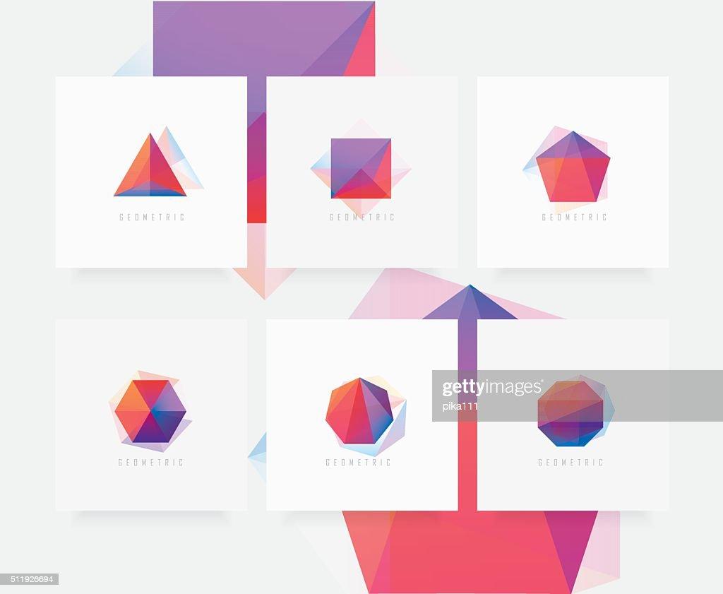 Set of colorful polygonal symbols