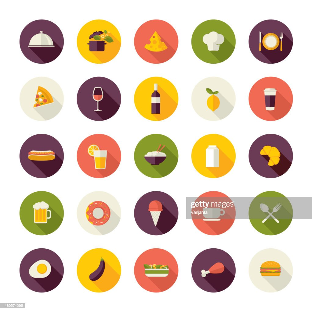 Set of colorful restaurant icons