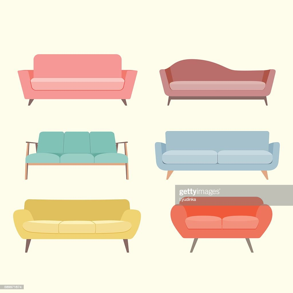 Set of colorful retro sofa. Vector flat illustration