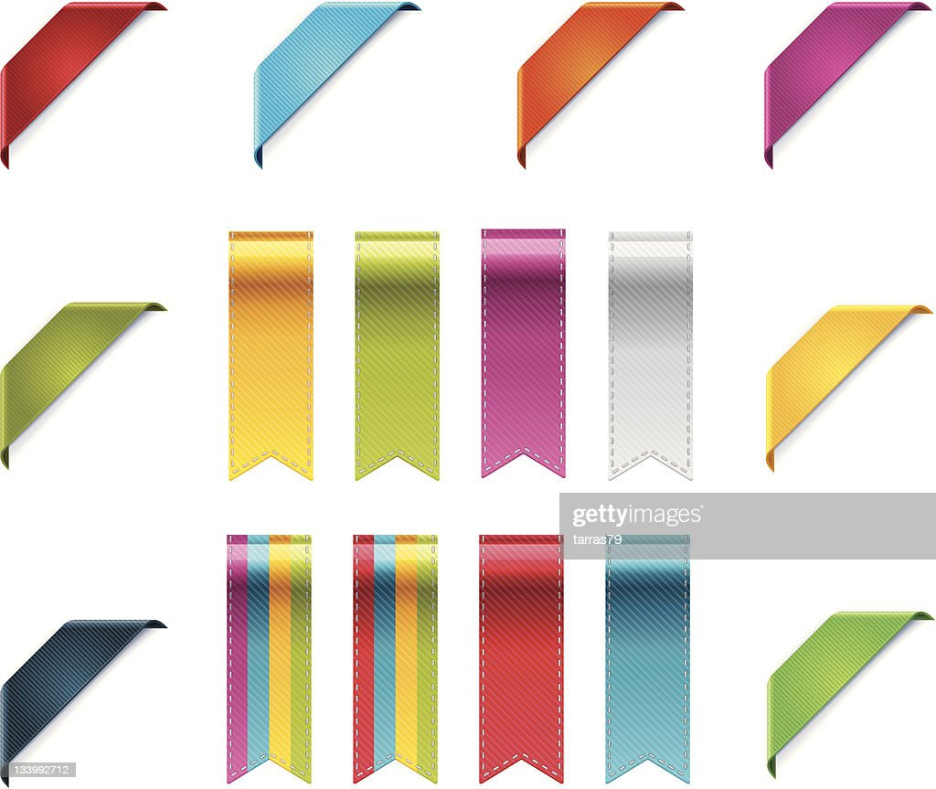 Set of colorful ribbons and corners