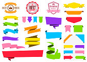 Set of Colorful Ribbons, Banners, badges, Labels - Design Elements on white background
