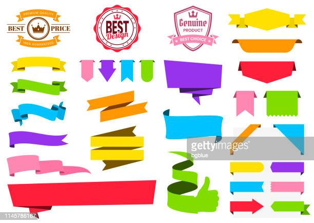 set of colorful ribbons, banners, badges, labels - design elements on white background - folded stock illustrations