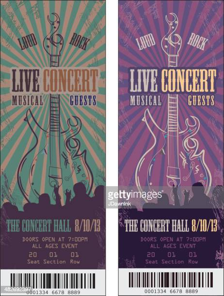 set of colorful rock n' roll concert tickets template design - ticket stock illustrations, clip art, cartoons, & icons