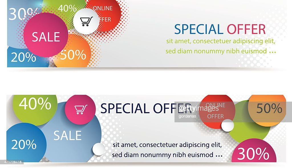 Set of colorful sales banners.