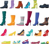Set of colorful shoes and boots for women and men