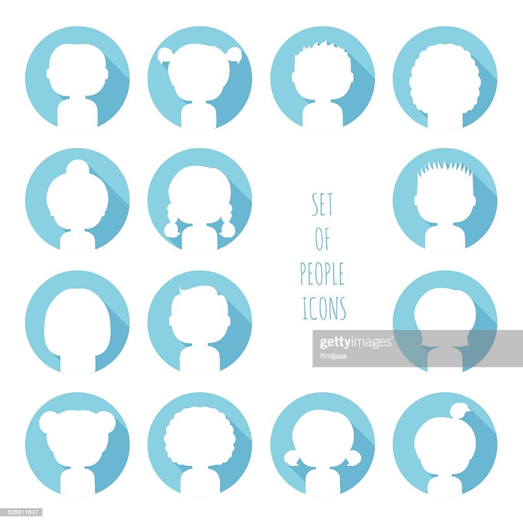 Conjunto de ícones de silhueta colorida pessoas. : Arte vetorial