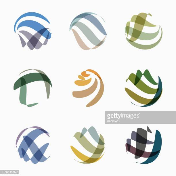set of colorful sphere pattern icon - twisted stock illustrations, clip art, cartoons, & icons