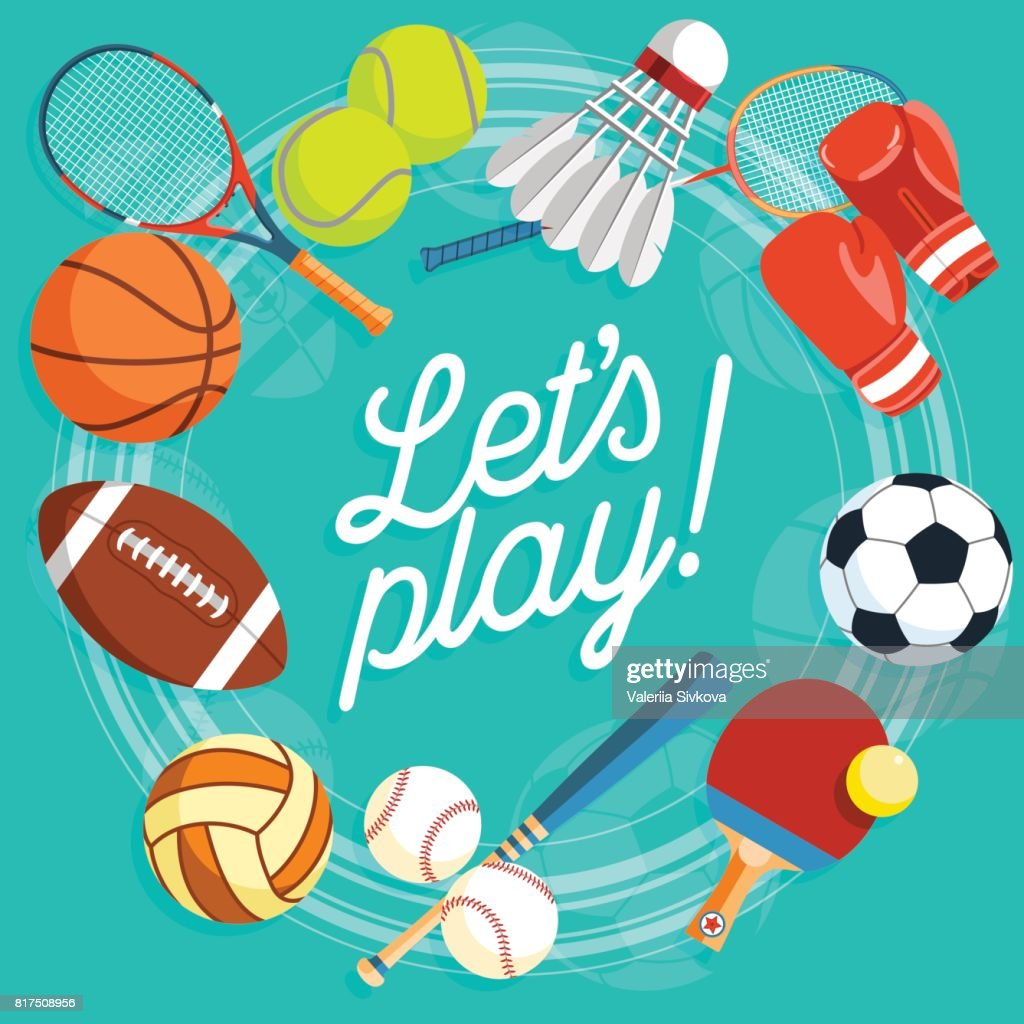 Set of colorful sport balls and gaming items at a turquoise background. Balls for rugby, volleyball, basketball, football, baseball, tennis and badminton shuttlecock. Healthy lifestyle tools, elements. Vector Illustration.