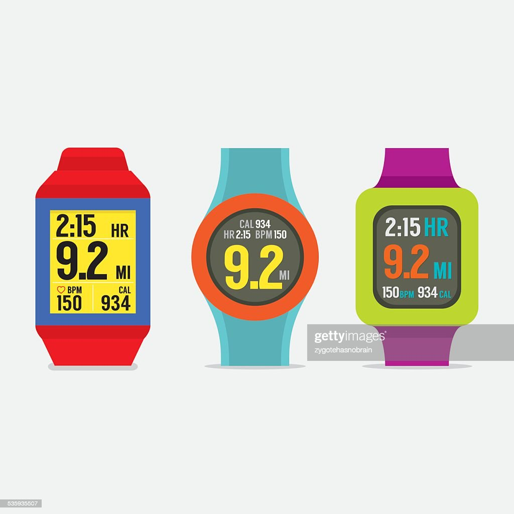 Set Of Colorful Sport Watches : Vector Art