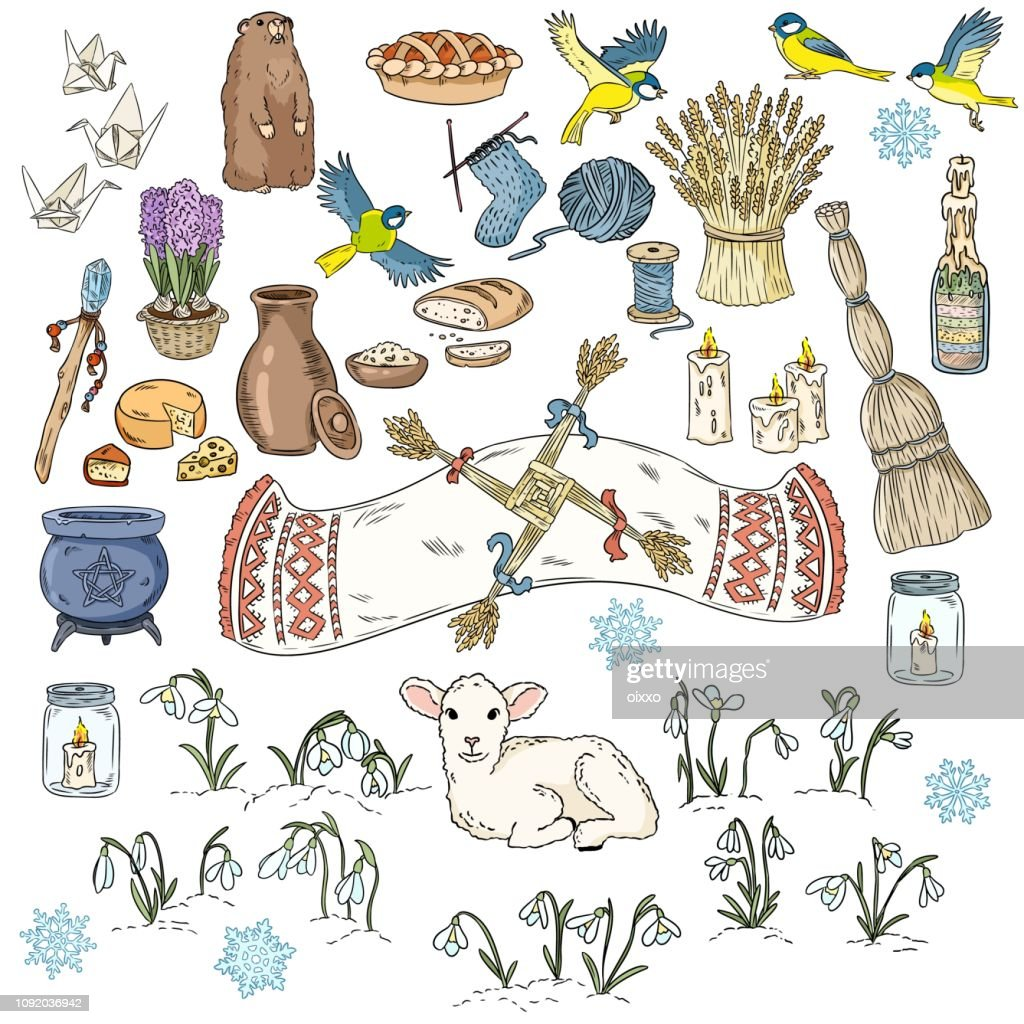 Set of colorful spring doodles. Beginning of spring symbols. Imbolc wiccan holiday sketch doodles. Brigids cross, groundhog, snowdrops, cleaning, sheaf of wheat, lamb, candles