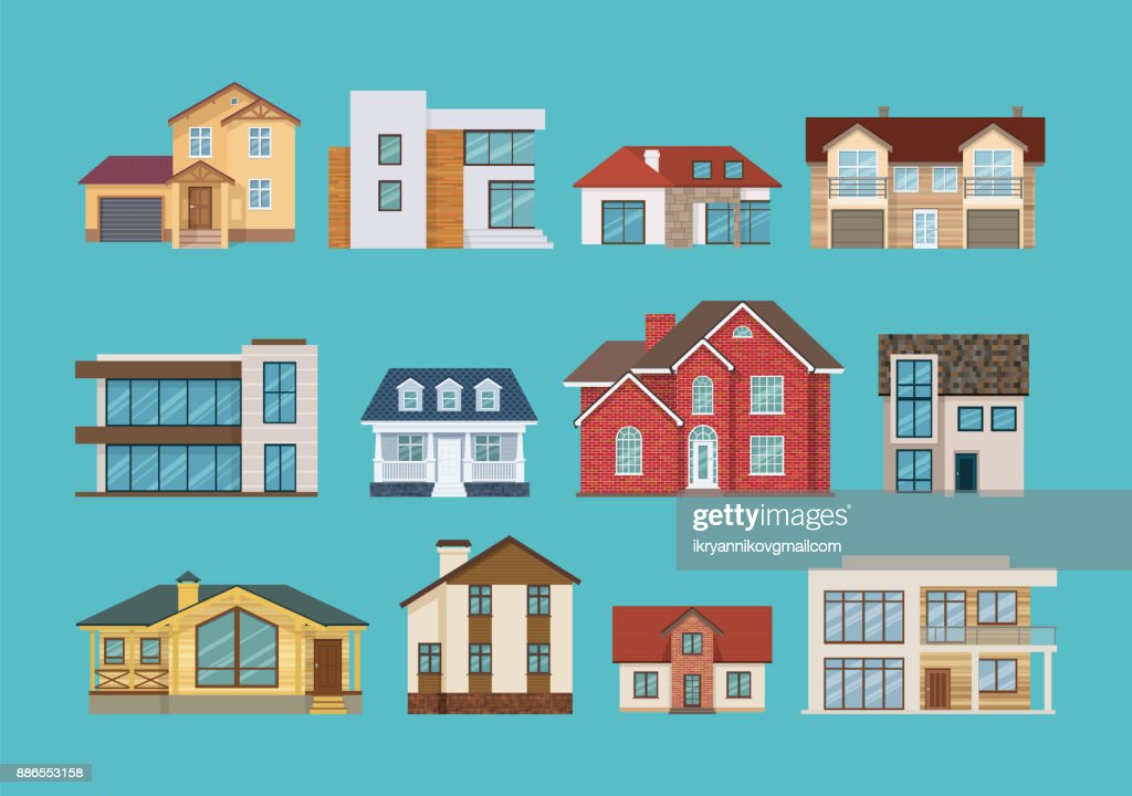 Set of colorful suburban houses and cottages, family vacation houses