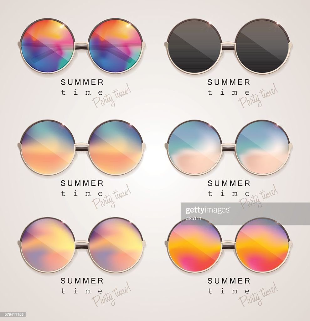 Set of colorful sunglasses with abstract gradient mesh glass mirrors